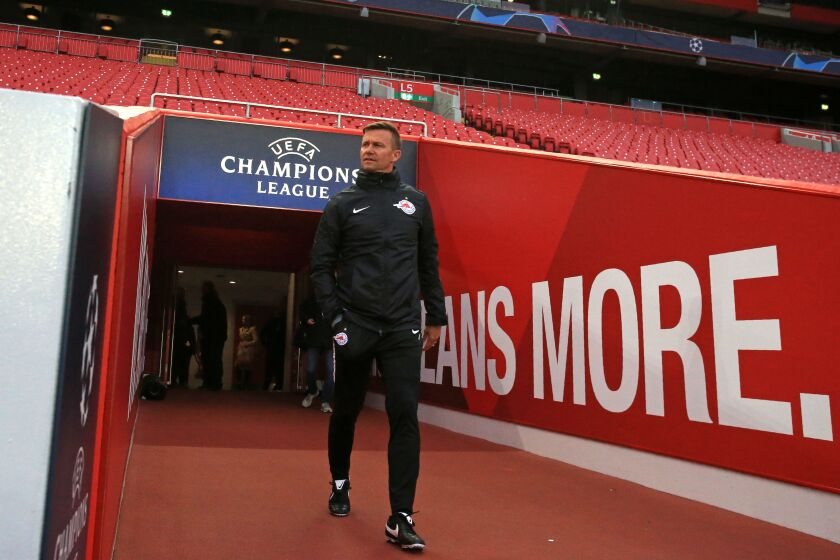 Red Bull Salzburg coach Jesse Marsch walks out of the tunnel before a training session at Anfield ahead of a UEFA Champions League match against Liverpool.