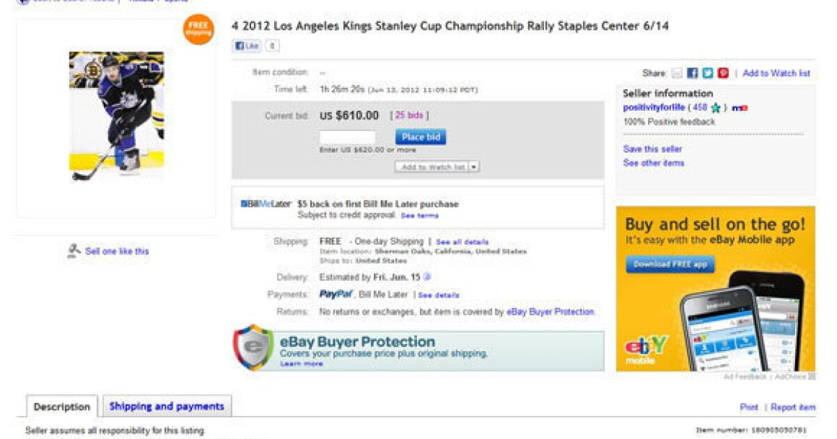 Kings Rally Tickets Going For 610 On Ebay Los Angeles Times