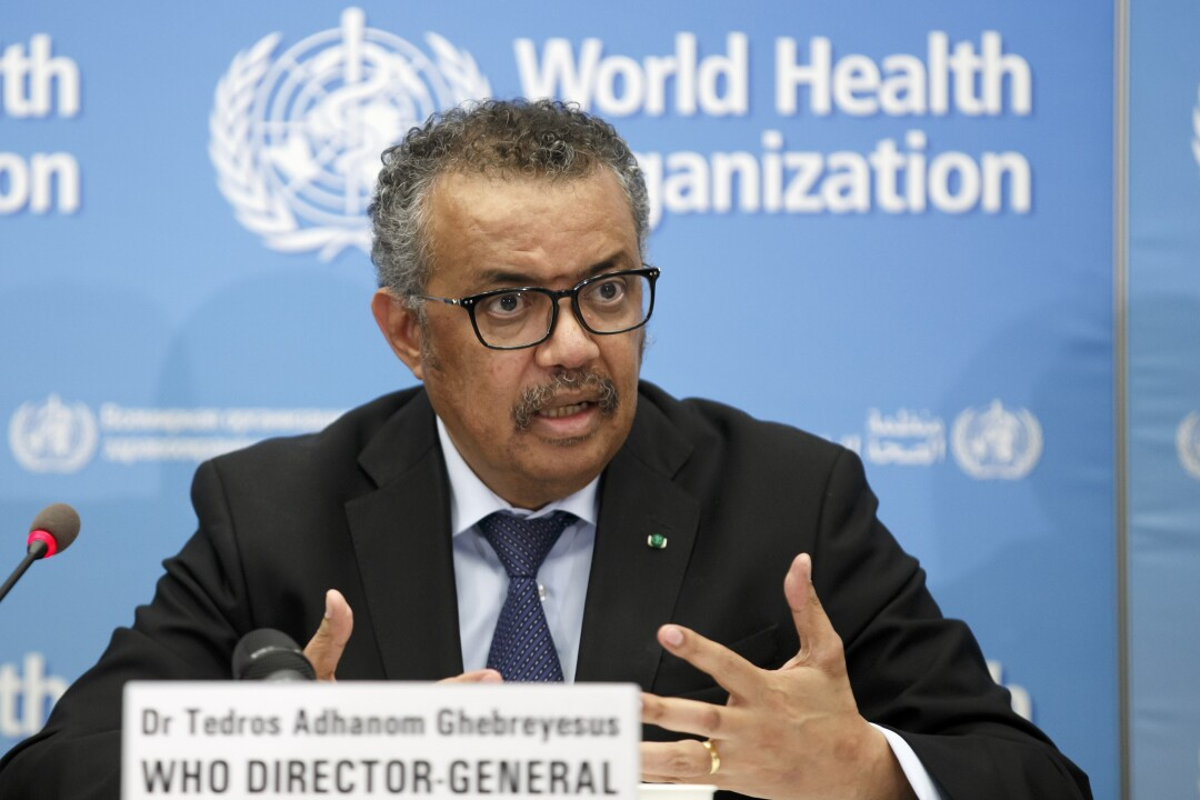 Tedros Adhanom Ghebreyesus, director-general of the World Health Organization, discusses COVID-19 at a news conference.