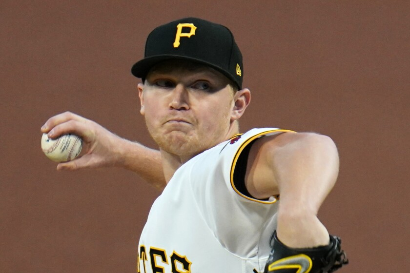 Pittsburgh Pirates starting pitcher Mitch Keller delivers during the first inning of a baseball game against the St. Louis Cardinals in Pittsburgh, Saturday, Sept. 19, 2020. (AP Photo/Gene J. Puskar)