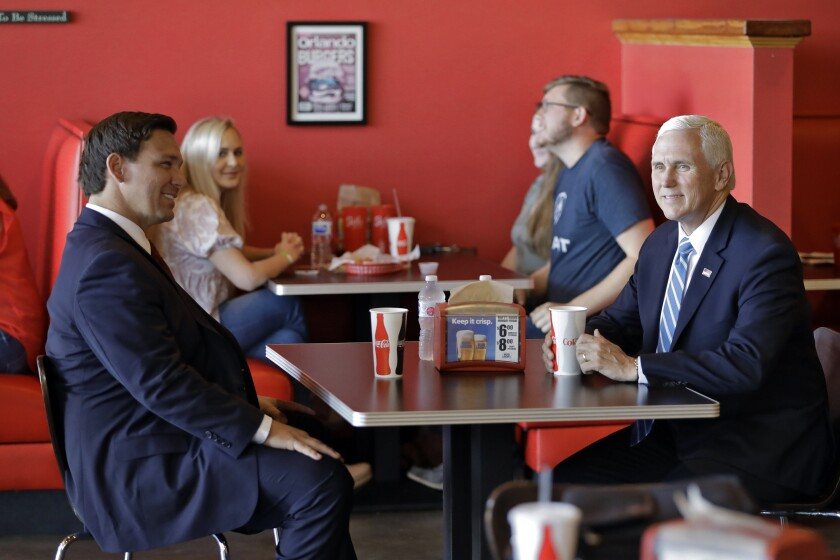 Vice President Mike Pence and Florida Gov. Ron DeSantis