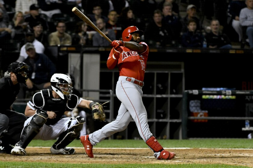 Angels' Brian Goodwin hits a two-run home run off Chicago White Sox's Aaron Bummer during the eighth inning on Friday in Chicago.