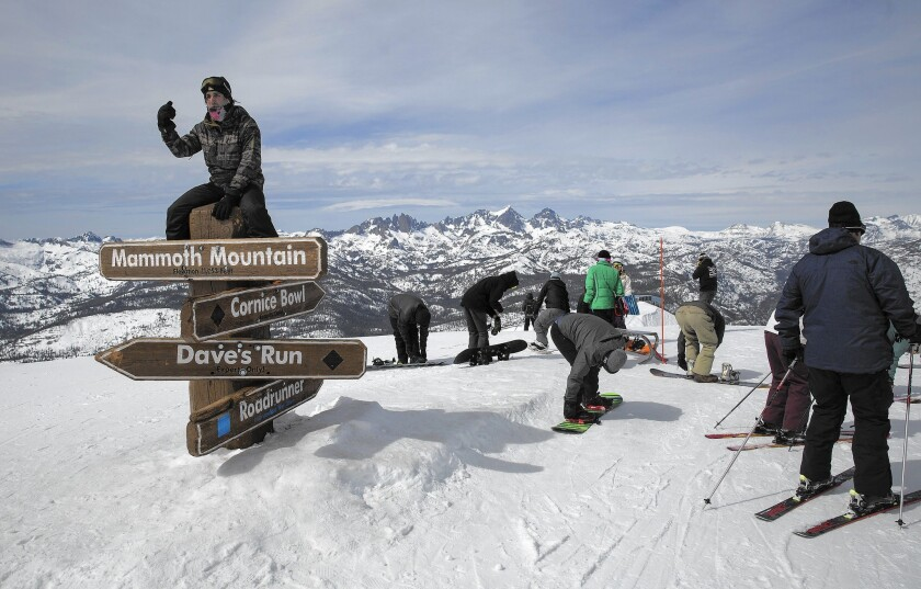 Skiers and snowboarders at Mammoth Mountain.