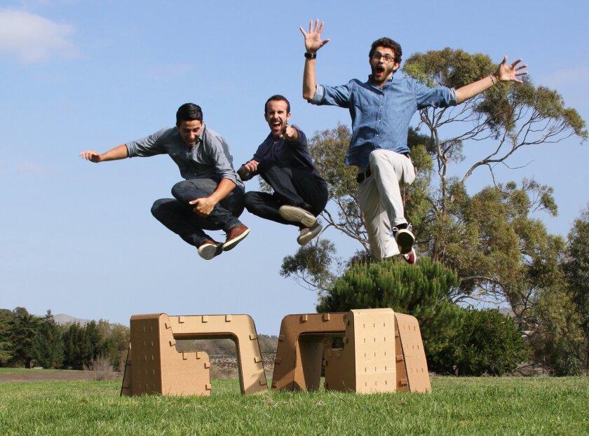 The design team of The Cardboard Guys, L-R: Jordan Kepler, Jake Disraeli, Justin Farr