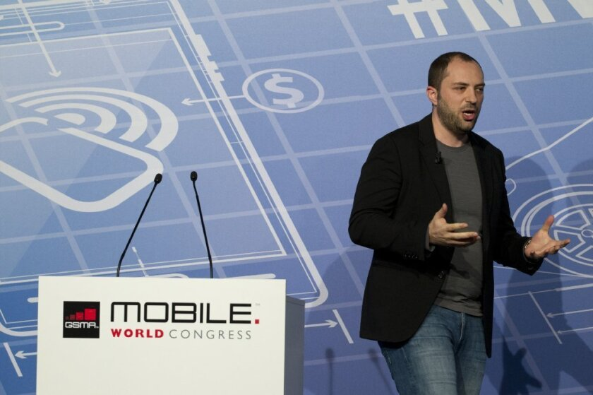 Jan Koum, chief executive of WhatsApp, unveiled the company's plans to offer voice calls as part of its popular mobile messaging app. Facebook last week said it would acquire WhatsApp in a $19-billion deal.