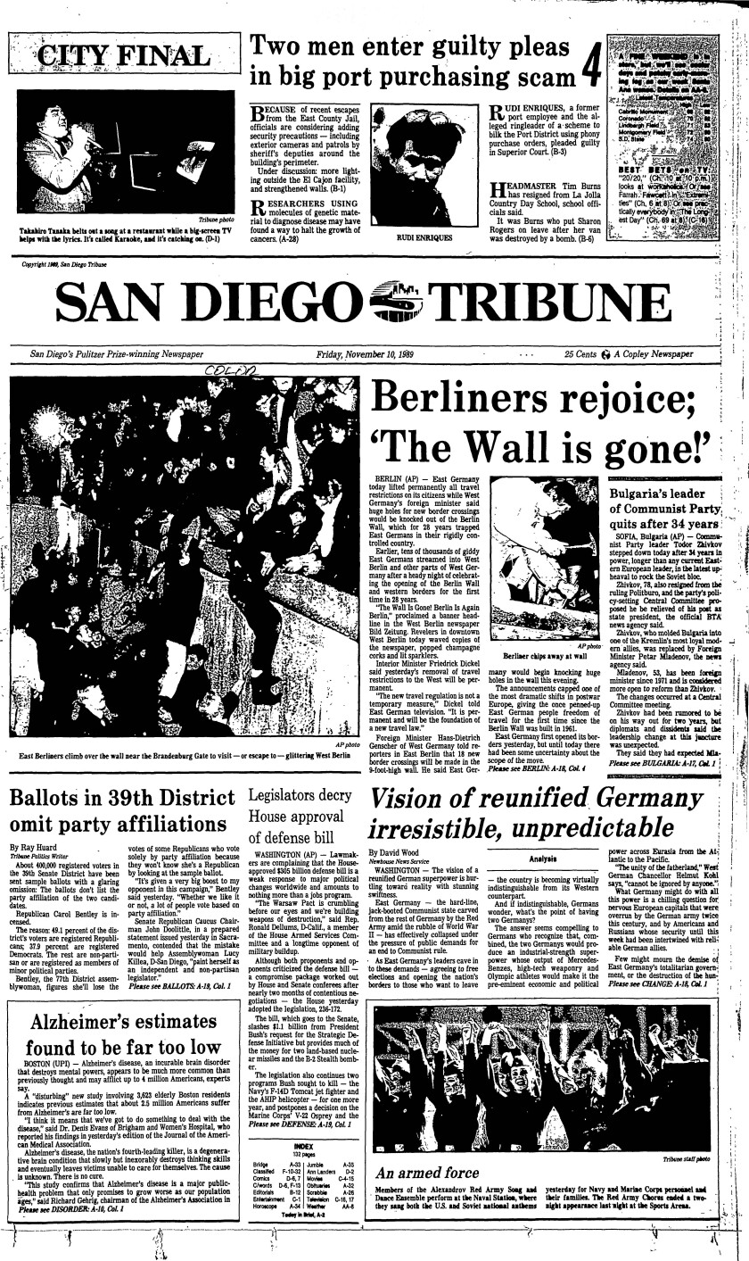 November 10, 1989 front page