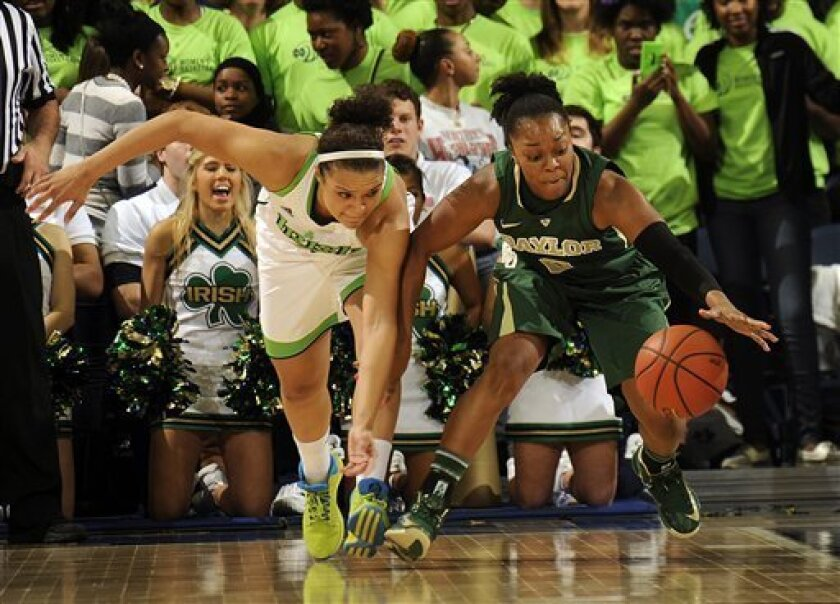 Notre Dame guard Kayla McBride, left, and Baylor guard Odyssey Sims battle for a loose ball during second-half action of an NCAA college basketball game on Wednesday, Dec. 5, 2012, in South Bend, Ind. Baylor won 73-61 with Sims scoring 16 points and McBride scoring 18. (AP Photo/Joe Raymond)