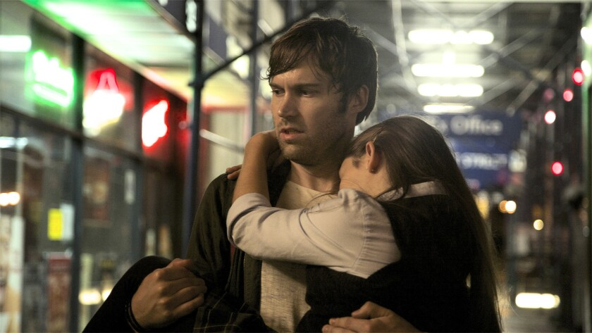 "Shawn Christensen and Fatima Ptacek in a scene from ""Before I Disappear."""