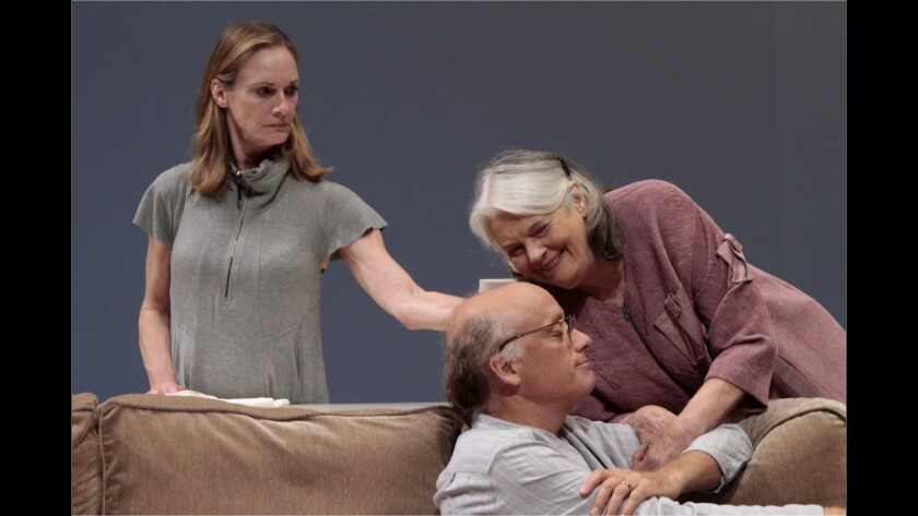 "Lisa Emery, left, as Tess, Lois Smith as Marjorie and Frank Wood as Jon in the world premiere of ""Marjorie Prime"" at the Mark Taper Forum in Los Angeles."