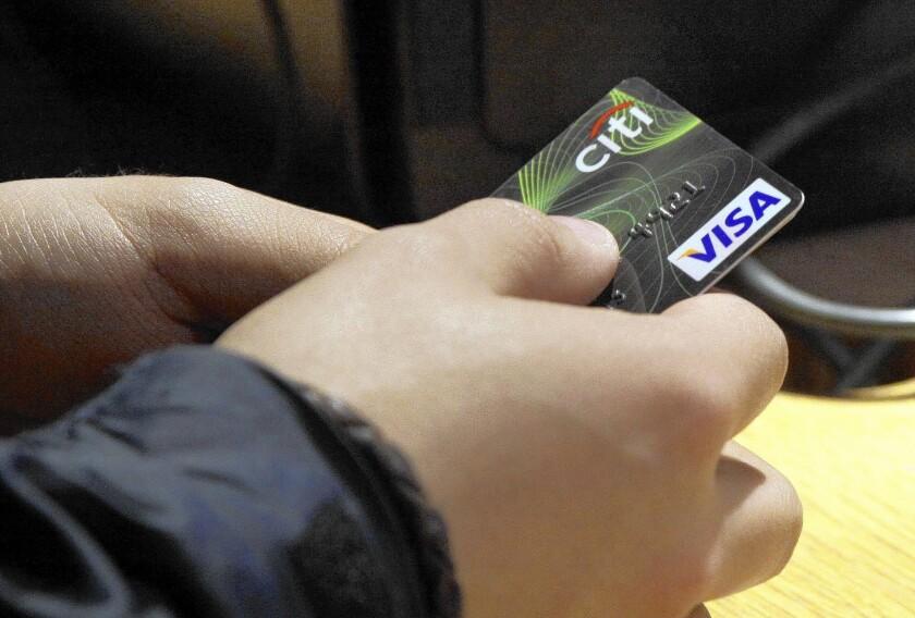 A Visa credit card from Citibank