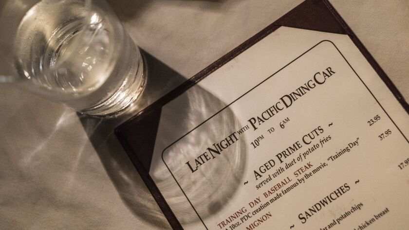 LOS ANGELES CA JUNE 22, 2018 -- Pacific Dining Car offers a discounted late-night menu from 10 p.m.