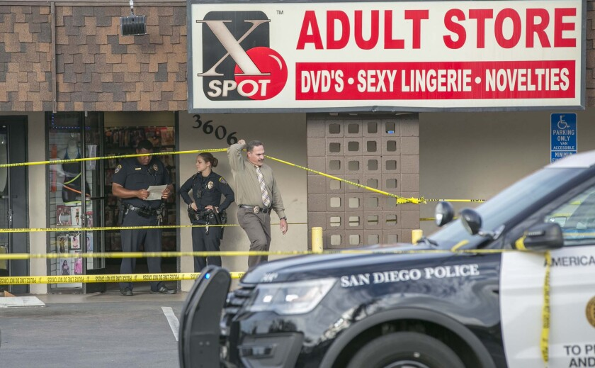 San Diego police investigate the fatal stabbing of Diane Spagnuolo in October 2018 at the X Spot Adult Store on Midway Drive.