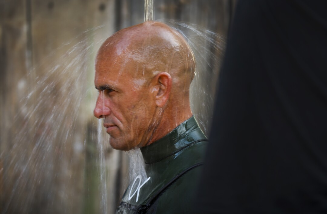 Kelly Slater showers off