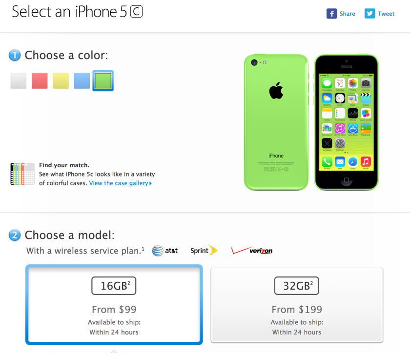 The iPhone 5c for sale on Apple's website.