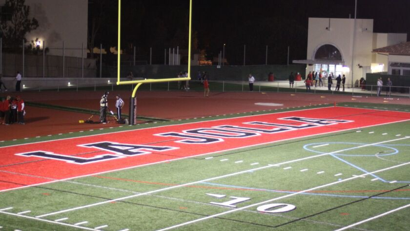The new La Jolla High School football field — complete with bright, new end zones — will be formally opened with a ribbon cutting at 6:30 p.m. Friday, Oct. 14.
