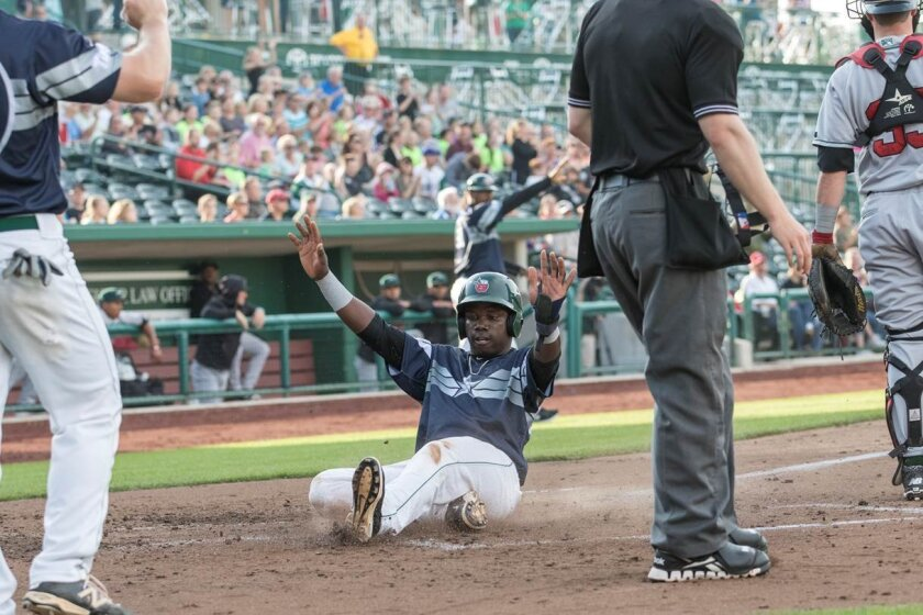 Padres shortstop prospect Ruddy Giron slides home with a run for low Single-A Fort Wayne.