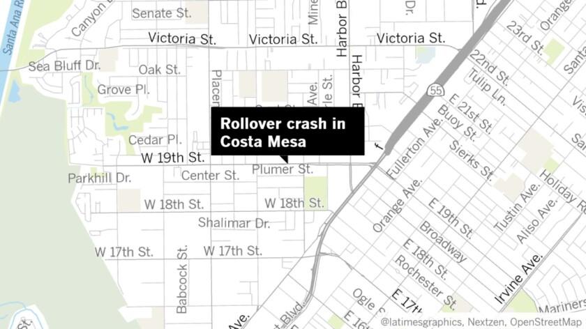 Rollover crash in Costa Mesa map