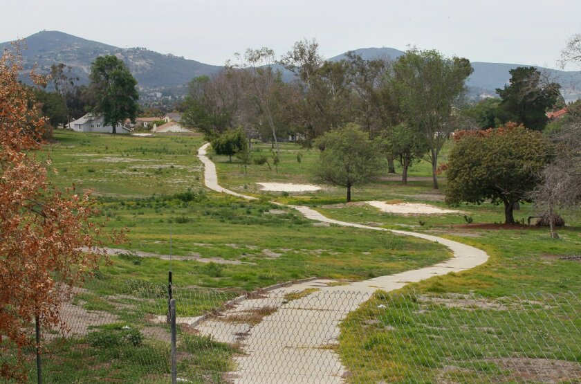View of a section of the closed Escondido Country Club golf course in April. This view is looking southwest from Gary Lane.