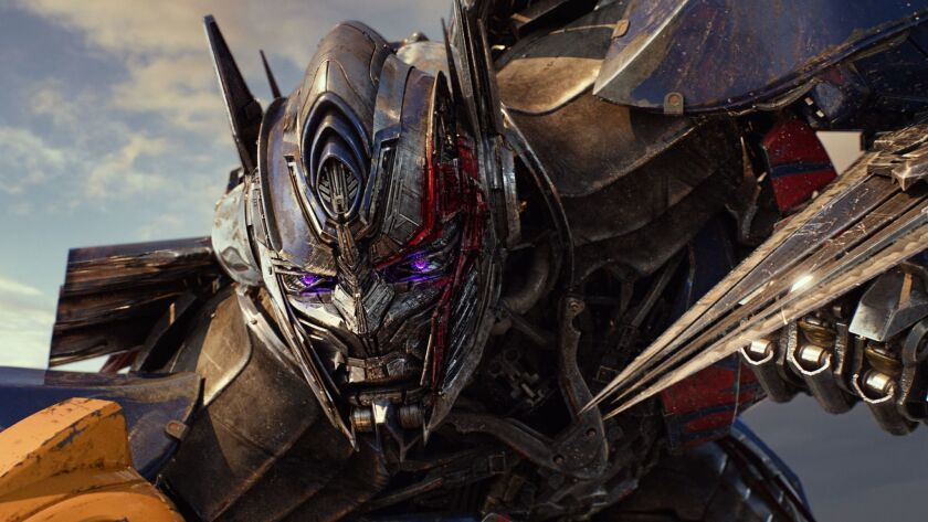 "This image released by Paramount Pictures shows Optimus Prime in a scene from, ""Transformers: The La"