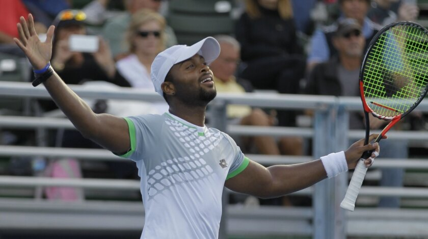 Donald Young reacts after defeating Bernard Tomic, of Australia, 4-6, 6-4, 6-2, during a semi-final tennis match at the Delray Beach Open, Saturday, Feb. 21, 2015, in Delray Beach, Fla. (AP Photo/Luis M. Alvarez)
