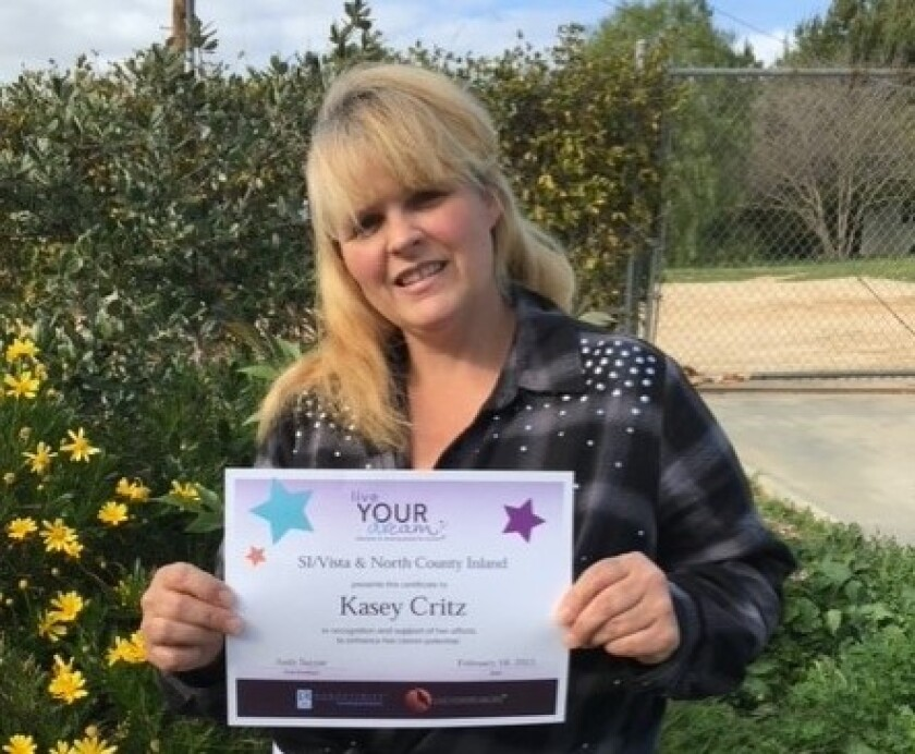 First-place winner of Soroptimist International of Vista and North County Inland's Live Your Dream Award, Kasey Critz.