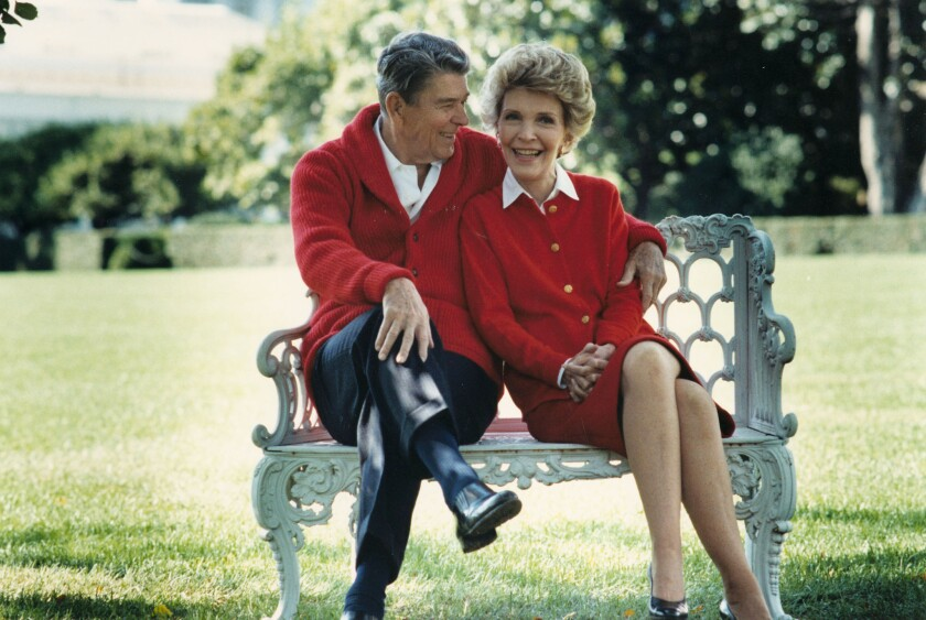 Former President Ronald Reagan and First Lady Nancy Reagan share a moment on their 50th anniversary on March 4, 2002. Nancy turned to astrology in the White House in an attempt to protect her husband.