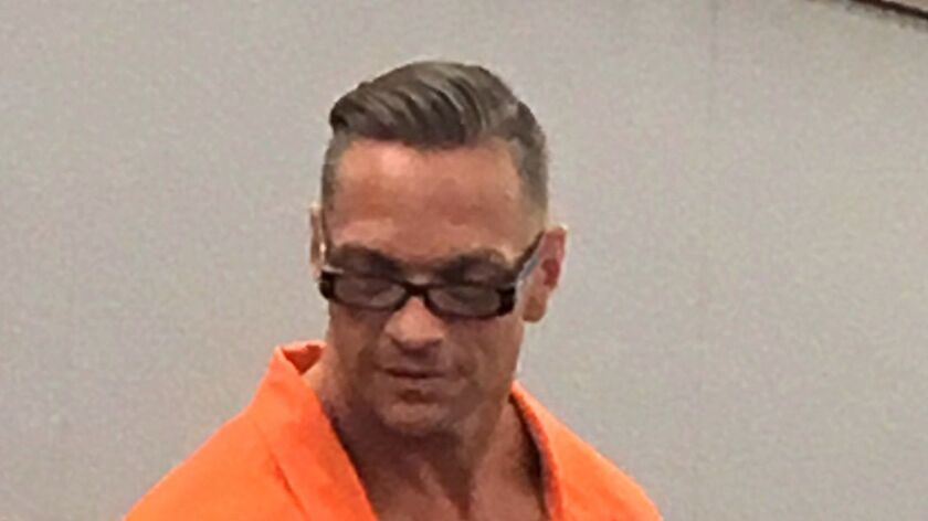 Scott Raymond Dozier, a death row inmate in Nevada, is seen during an appearance on Aug. 17 in Clark County District Court in Las Vegas.