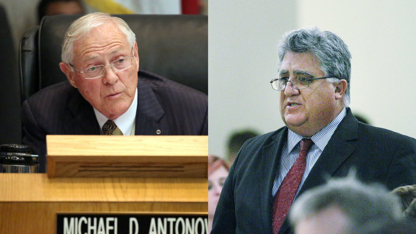 Los Angeles County Supervisor Michael D. Antonovich, left, and former state Assemblyman Anthony Portantino are vying for Sen. Carol Liu's seat in the 25th District.