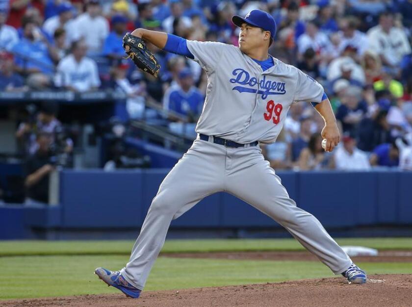 El jugador Hyun-Jin Ryu de los Dodgers de los Ángeles. EFE/Archivo