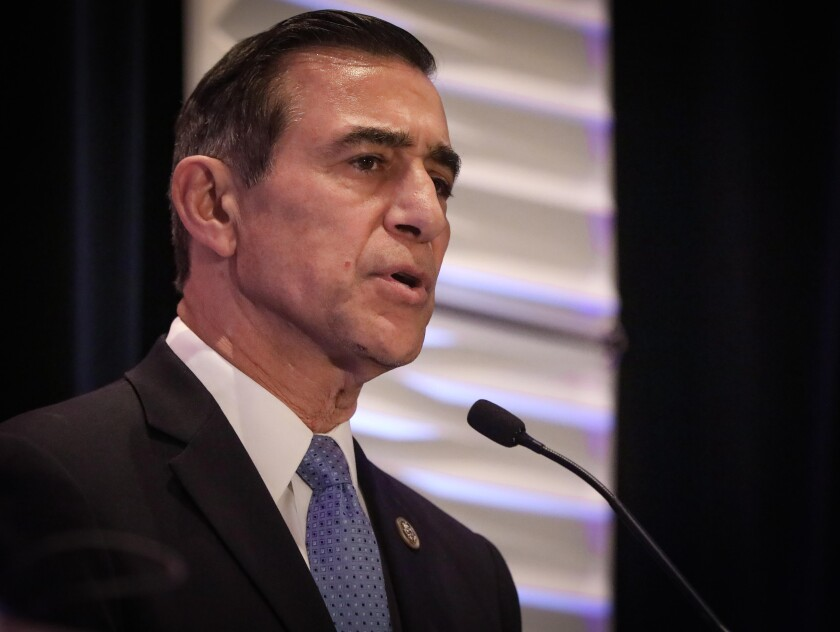 Darrell Issa, former congressman, a Republican candidate for U.S. House of Representatives in the 50th Congressional District, during the 50th District Congressional Debate in Mission Valley, February 14, 2020 at the DoubleTree by Hilton Hotel San Diego.