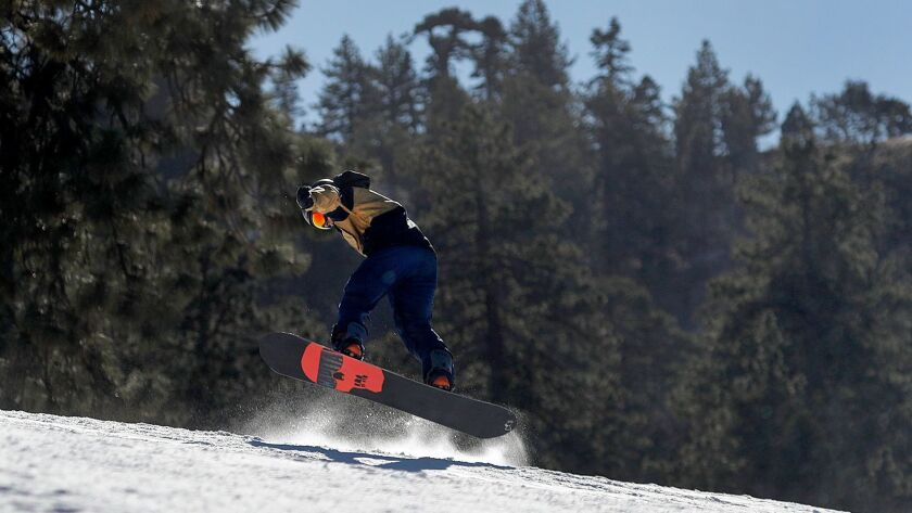WRIGHTWOOD, CALIF. -- TUESDAY, FEBRUARY 20, 2018: Amid temperatures in the 20's and 30's, a snowboar