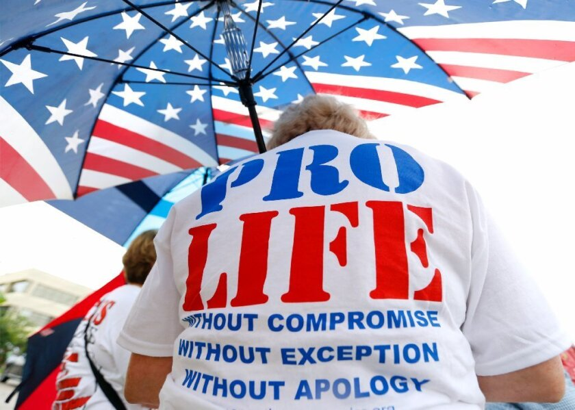 An anti-abortion demonstrator participates in a protest outside the Causeway Medical Clinic in Metairie, La., in July.