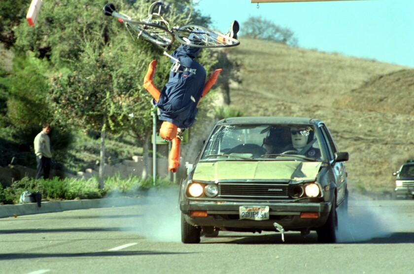 Test dummy flies through the air in simulated crash of car into cyclist. California leads the nation in cycling traffic deaths, according to a new report from the Governors Highway Safety Assn.