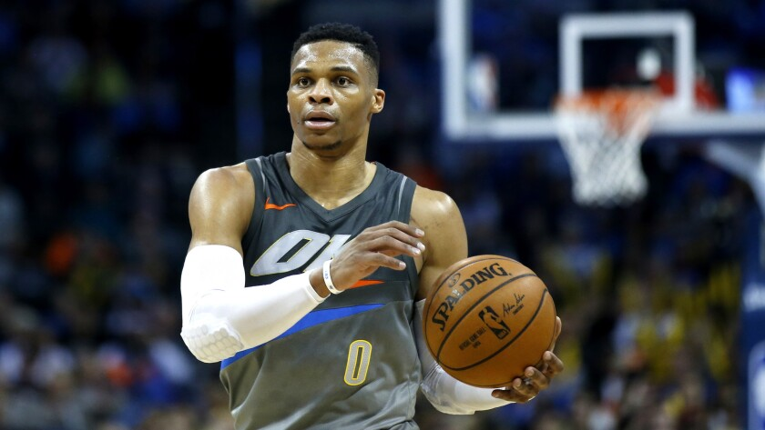 Thunder guard Russell Westbrook is the NBA's reigning MVP.