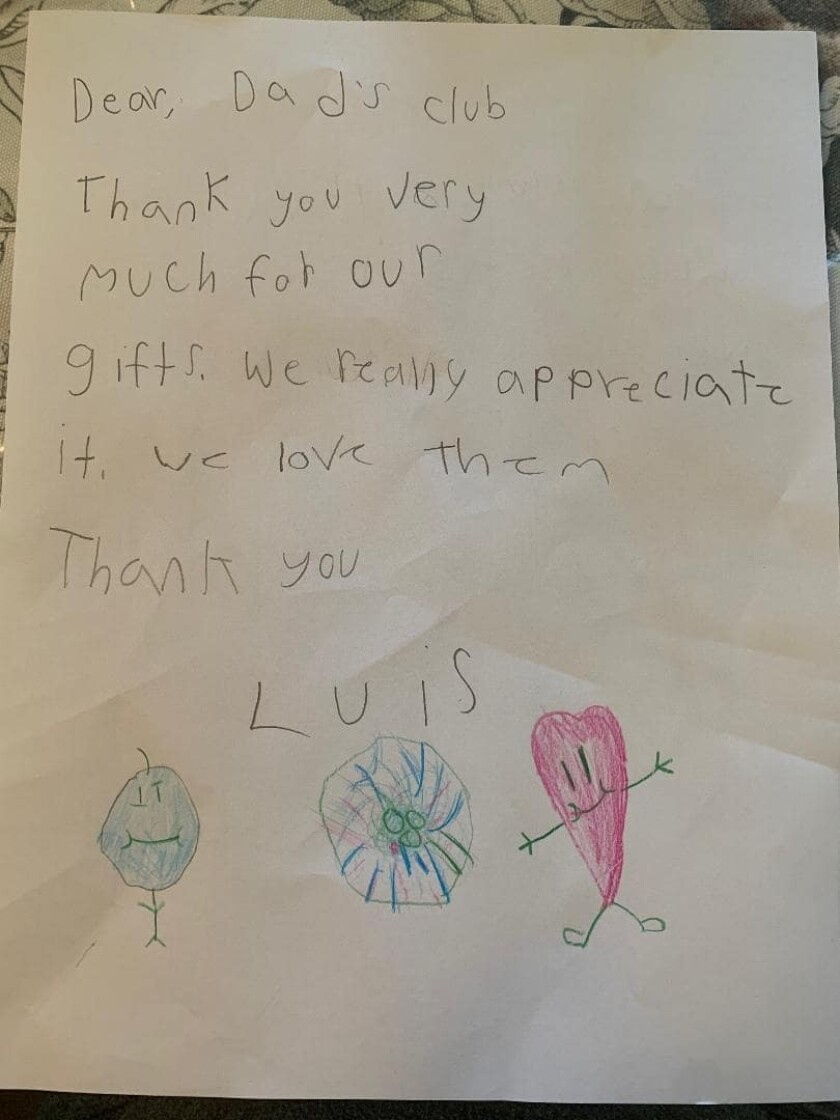 Relief fund volunteers have been receiving thank you letters from local children.