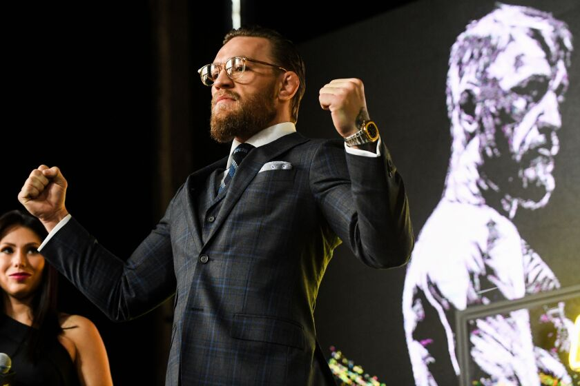 Mixed martial arts star Conor McGregor of Ireland attends a media briefing in central Moscow on October 24.