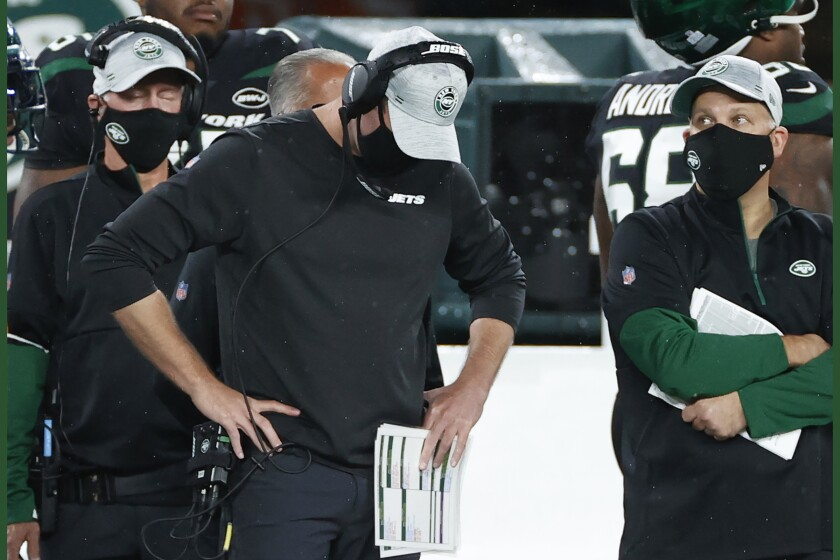 New York Jets head coach Adam Gase reacts during an NFL football game against the Denver Broncos, Thursday, Oct. 1, 2020, in East Rutherford, N.J. The New York Jets and Giants are both 0-4 for the first time since 1976, and victories might be tough to come by this season. That has left the fans of both teams frustrated, disgusted and already looking to next season just four games into this season. (AP Photo/Adam Hunger, File)