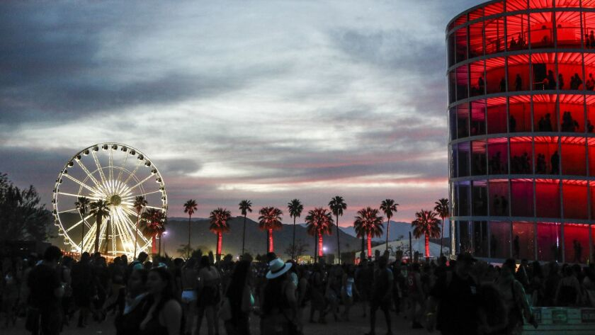 INDIO,CA -- SATURDAY, APRIL 21, 2018-- Sun setting at the Coachella Valley Festival during weekend