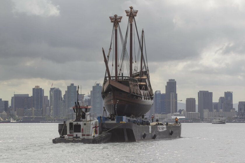 After almost five years of work at Spanish Landing in San Diego, the Spanish galleon replica San Salvador left the site. Around 9:00 am Wednesday, July 22, a barge carrying the ship departed for Marine Group Boat Works in Chula Vista where final work will be done before it's put in the water.