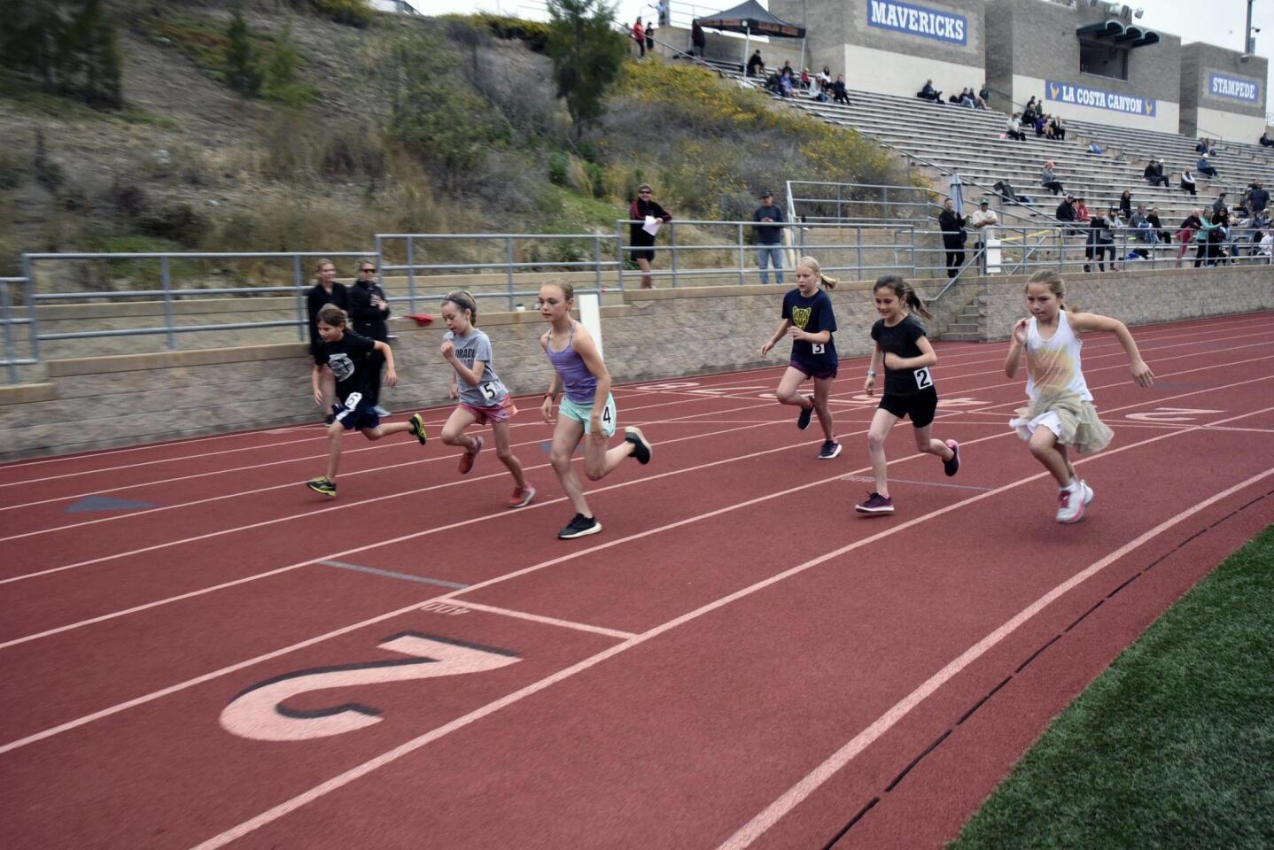 Start of Girls 1600 meter run (3rd, 4th, and 5th grade)