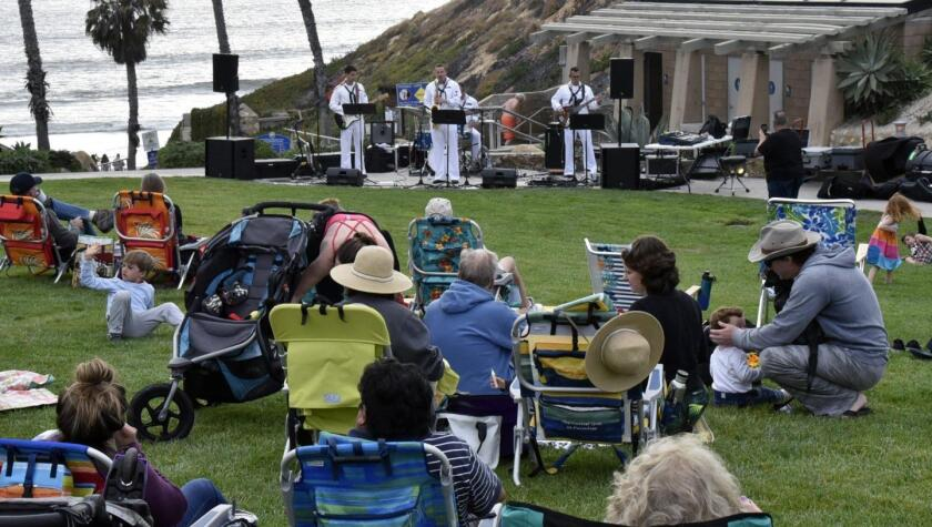 """Navy Band Southwest's 32nd Street Brass Band kicked off the """"Concerts at the Cove"""" series in 2019."""