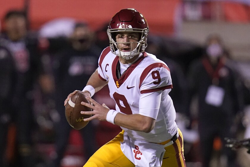 USC quarterback Kedon Slovis looks downfield against Utah.