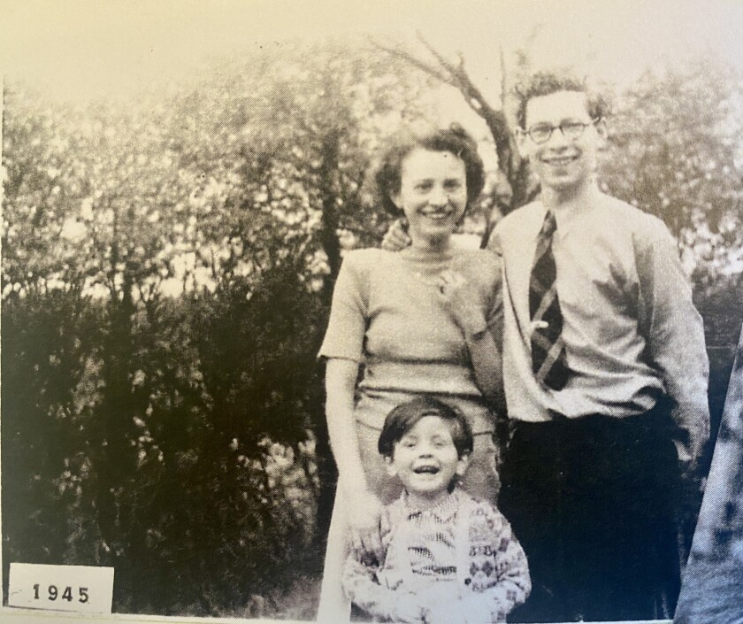 Peter Manes is pictured in 1945 with his first wife, Inge, and their older son.