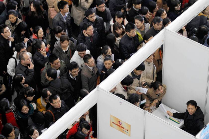 A job fair last year in Nanjing, China. A new study suggests that a nation forged by collectivism, hard work and deprivation has created a generation of young adults that could be its undoing.