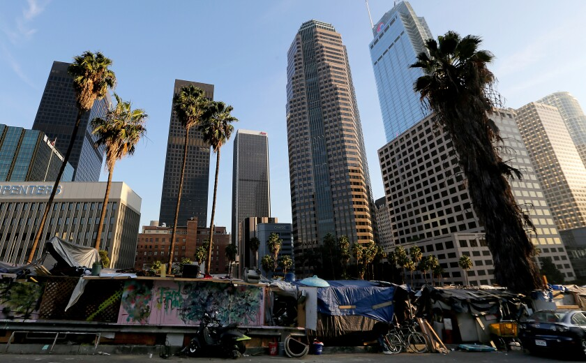 A homeless encampment along Beaudry Street in downtown Los Angeles.