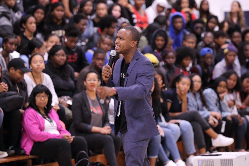 Jordan Harrison speaking at Mesa College in 2019 during the African American Achievement Summit.