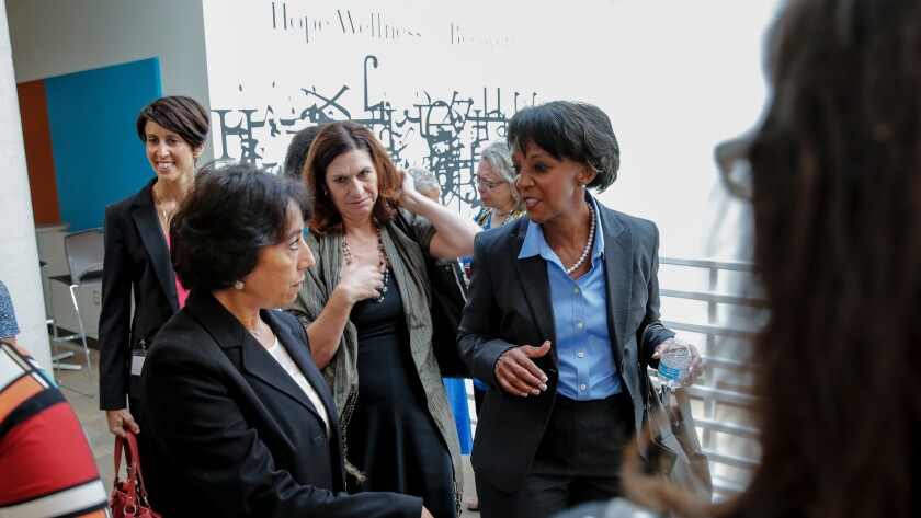 Los Angeles County District Attorney Jackie Lacey, right, receives a tour of the new Downtown Mental Health Center on Sept. 28, 2015.