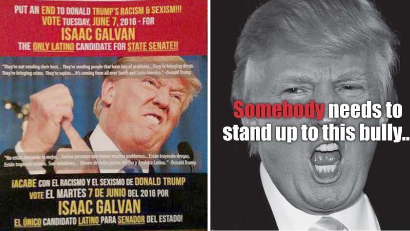 Two political mailers attacking Donald Trump, sent out by Compton City Councilman Isaac Galvan, right, and state Sen. Isadore Hall III(D-Compton).