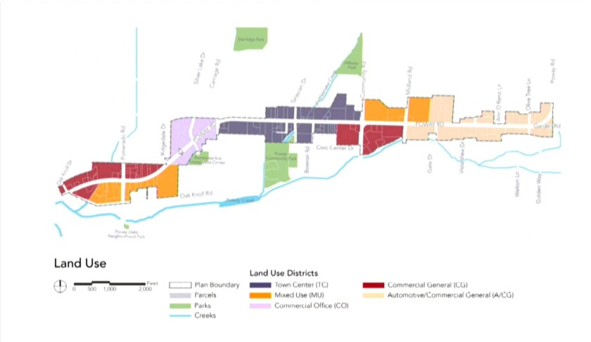 A land use map showing the five types of zones within the Poway Road Specific Plan.
