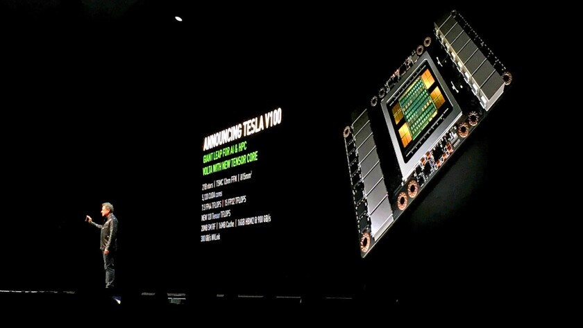 Nvidia Chief Executive Jensen Huang on stage at the GPU Technology Conference in San Jose on Wednesday.